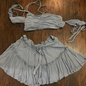 Light blue top and skirt set
